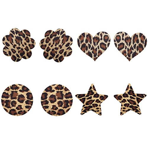 [4 Pairs Sexy Leopard shape Nipple Pasties Breast Nipple Cover Stick on Bra Disposable] (Womens Tank Dress Wonder Woman Costumes)