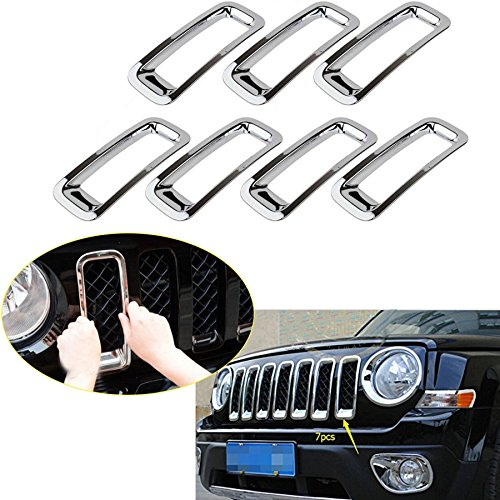 Latest 7PCS Front Grill Cover Mesh Grille Insert Kit For 2011-2016 Jeep Patriot (Silver 7PCS Insert)