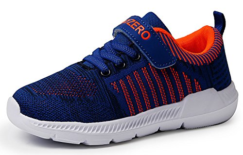 Vivay Boys Tennis Shoes Kids Sneakers Athletic Running Walking Sneakers for Little Kid and Big Kid(Blue Orange,Size 11 Little Kid)