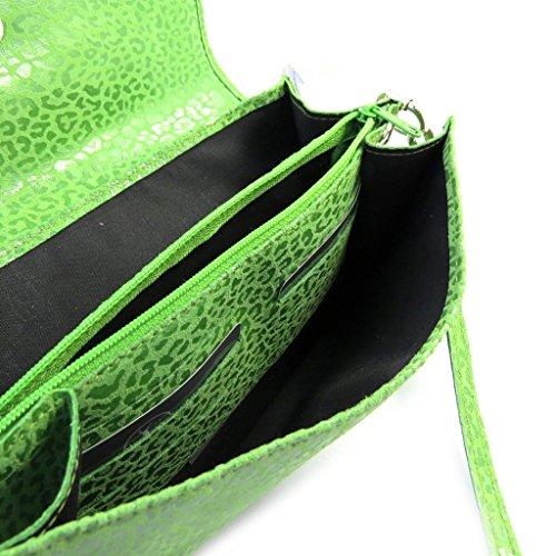 Bolso de la bolsa de cuero verde 'Frandi'manzana (2 fuelles)leopardo.