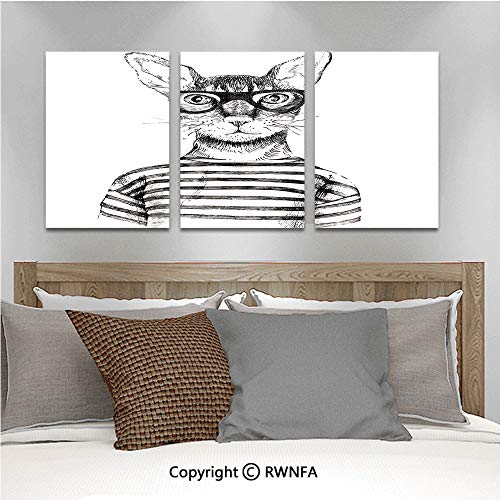 (3Pc Creative Wall Stickers Hand Drawn Dressed Up Hipster New Age Cat Fashion Urban Free Spirit Artwork Print Decorative Bedroom Kids Room Nursery Dinning Wall Decals Removable Art Murals,19.7