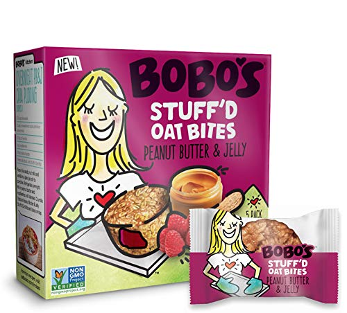 Bobo's Oat Stuff'd Bites (Peanut Butter & Jelly, 30 Pack Box of 1.3 oz Bites) Gluten Free Whole Grain Rolled Oat Snack- Great Tasting Vegan On-The-Go Snack, Made in the USA