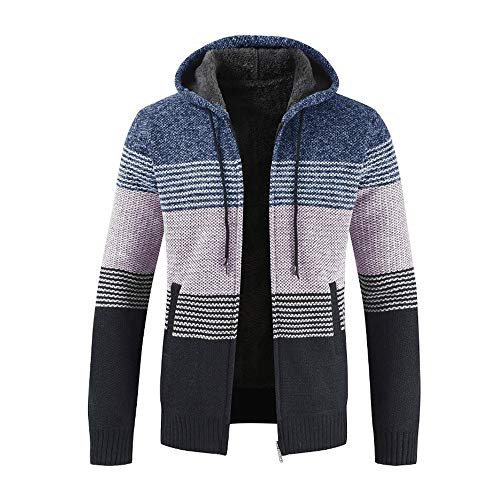 Men's Casual Cardigan, SFE Mens Winter Long Sleeve Packwork Hooded Zipper Jacket Knit Cardigan Coat