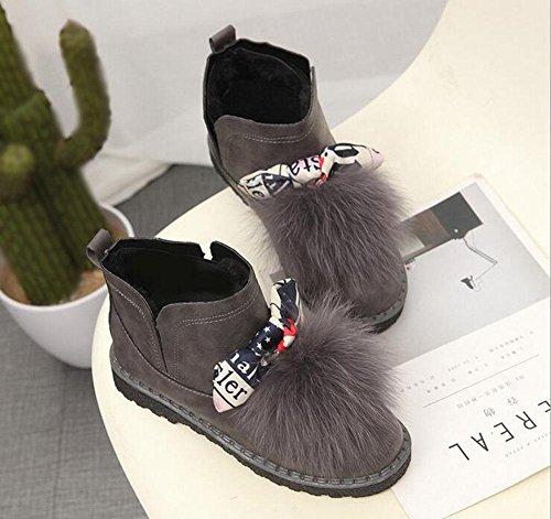 donna Stivali da scarpe coreana di delle peluche stivali Festival scarpe donna simpatico versione caldo scarpe piatte da corti farfalle neve cotone cashmere stivaletti da a gray KUKI oltre qdAXq