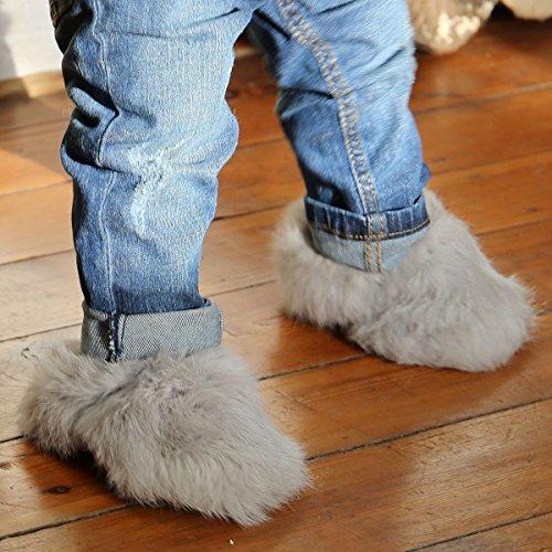 Hollert German Leather Fashion Baby Kaninchen Schuhe - HOPSI Fellschuhe Kinder Hausschuhe Hellgrau