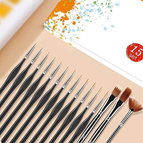 Pulluo 10pcs Pinsel Detail Pinselset Malen Feine Paint Pinsel Professionelle K/ünstlerpinsel f/ür Acryl Aquarell Nagel /Öl Miniatur Modell Nagel Gesichtsbemalung Malpinsel