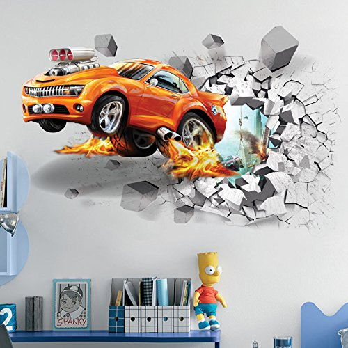 U-Shark 3D Self-adesive Removable Break Through the Wall Vinyl Wall Stickers /Murals Art Decals Decorator Kid's Favor (Flying Fire Car (19.7