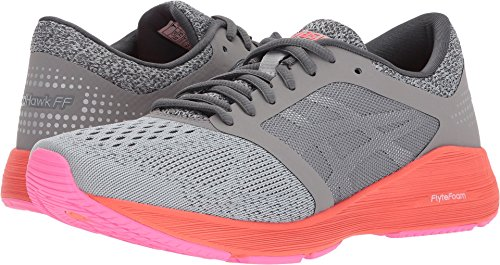 ASICS Women's Roadhawk FF Running Shoes Carbon/Silver/Flash Coral 6.5 B(M) - Country Womens Road