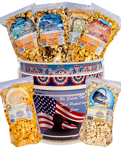 COLORADO KERNELS Decorative 3.5 Gallon AMERICAN PATRIOT Popcorn Bucket Containing Six Handcrafted Popcorn Flavors in Resealable Bags. Chocolates, Nuts, Caramels, Cheesy, Spicy, Sweet. ()