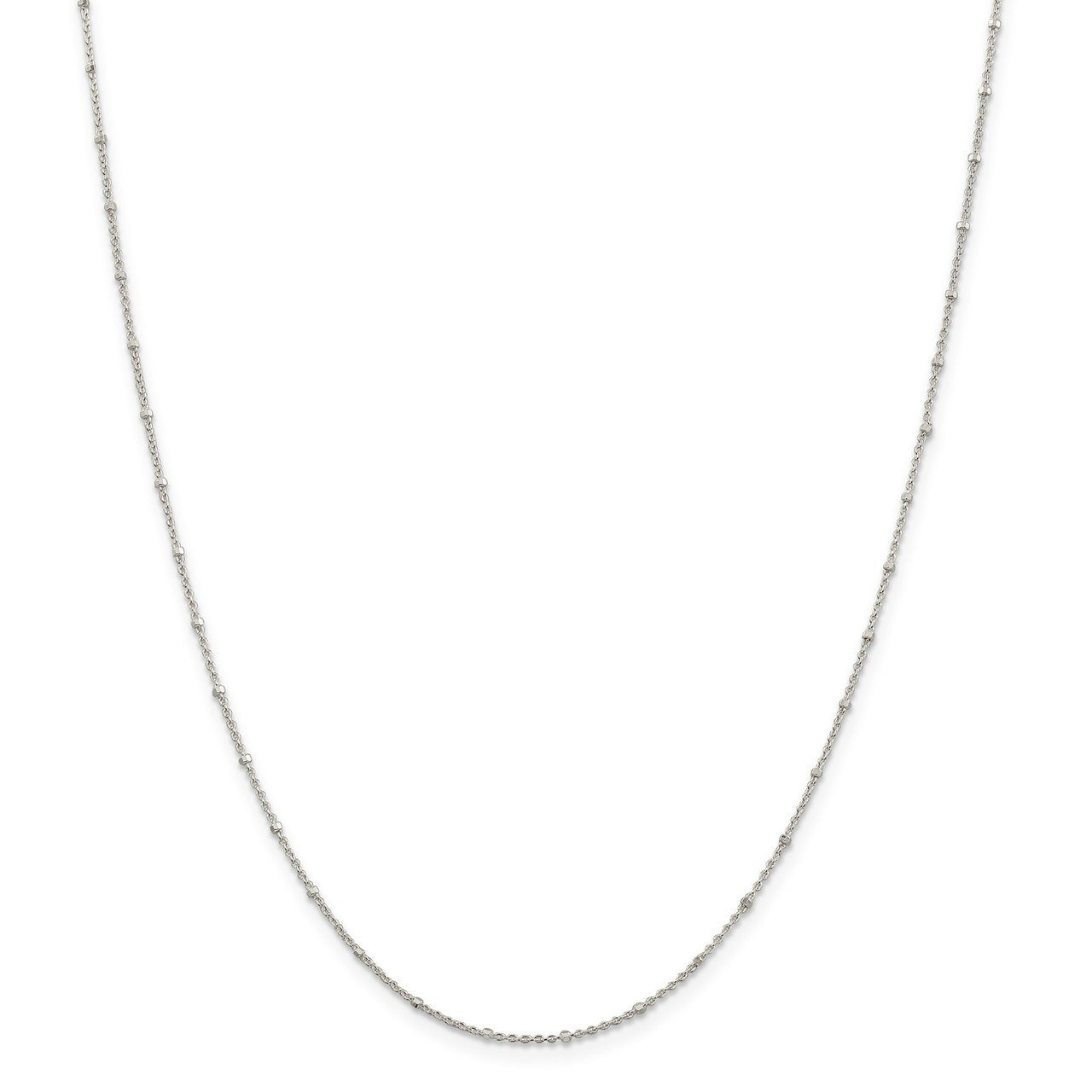 Lex /& Lu Sterling Silver 1.25mm Rolo w//Beads Chain Necklace or Anklet