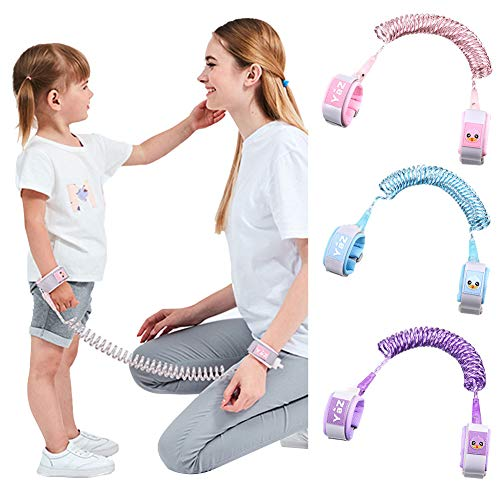 Reflective Anti Lost Wrist Link for Toddlers Safety Wristband Link for Babies Children's Anti-Lost Traction Rope with Lock (Pink)