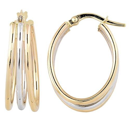 Kooljewelry 14k Two-tone Gold High Polish Triple Oval Hoop Earrings ()