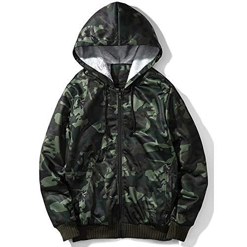 XinDao Men's Classic Full-Zip Fleece Hooded Sweatshirt -Camouflage Hooded Sweatshirt Green Camo US (Pigment Dyed Cotton Full Zip)