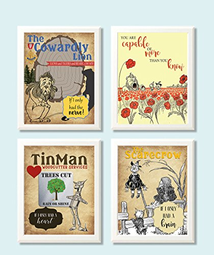 Silly Goose Gifts Vintage Oz Book Room Wall Art Decor (Set of Four) Decoration Courage Heart Brain ()