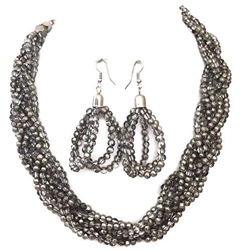 Gypsy Jewels Braided Grey Glass Silver Tone Beaded Twist Necklace Earrings ()