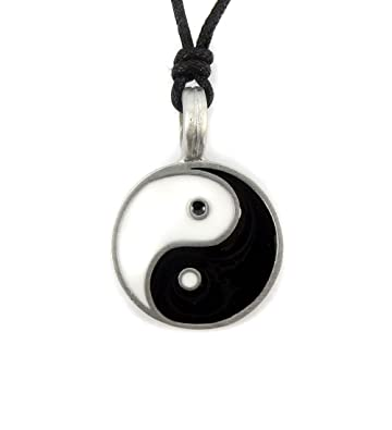 Mystical Magical Pewter Yin Yang Symbol Chinese Black White