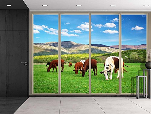 Spotted Cows Eating Grass on a Green Field Viewed From Sliding Door Creative Wall Mural Peel and Stick Wallpaper