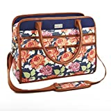 Fit & Fresh Wayfarer Carry On Bag for Women, Zippered Travel Tote, Navy Garden Peony