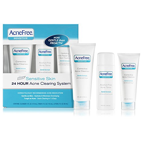 AcneFree Sensitive Skin Acne System - Cleanser 4 oz , Toner 4 (Acne Skin Kit)