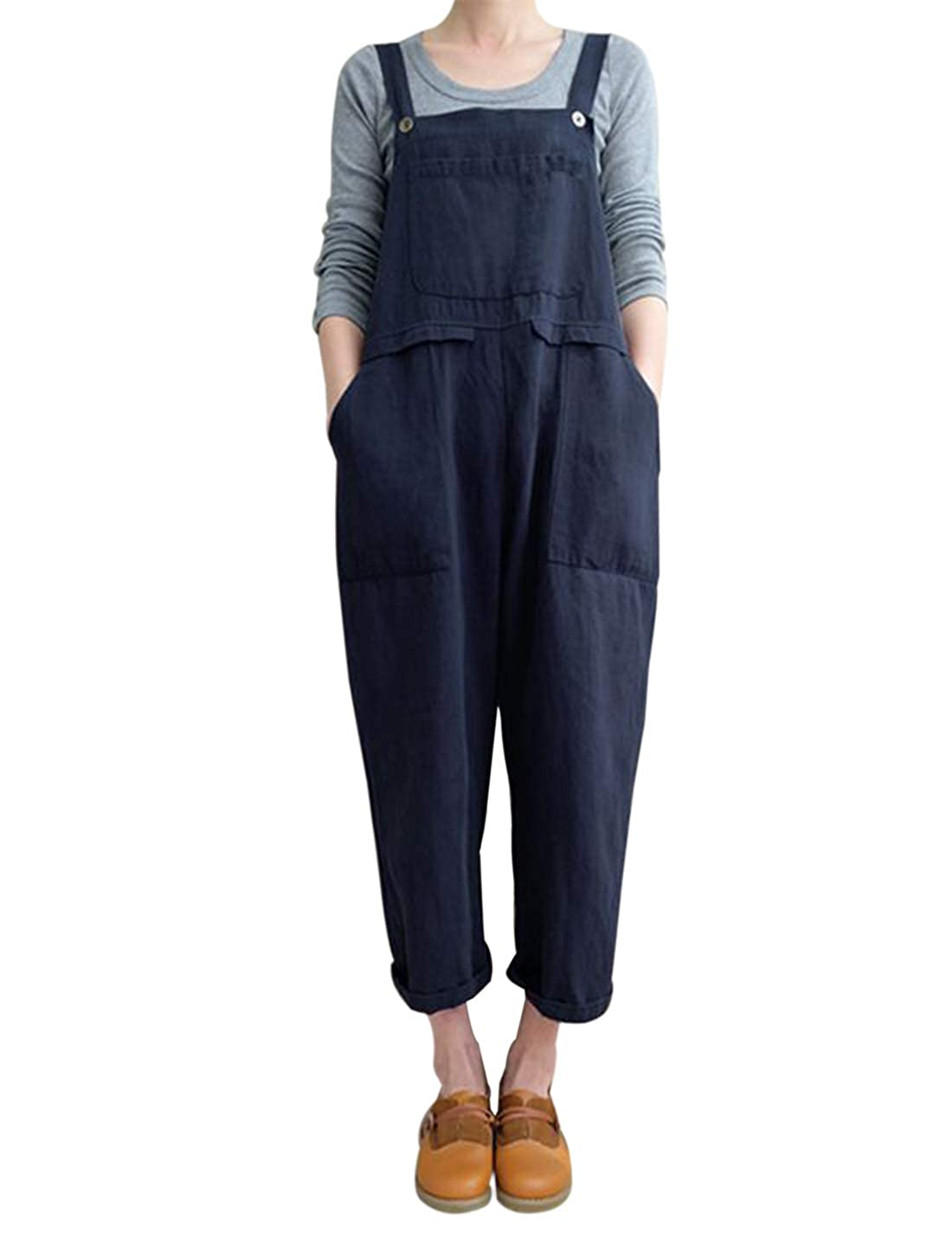 78cd7e7db8c Amazon.com  Gihuo Women s Casual Baggy Overalls Jumpsuit with Pockets   Clothing