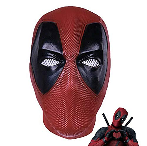 2019 Hot Deluxe Movie DP Deadpool Mask Full Head Face Xmas Halloween Cosplay Prop Latex Hood Helmet Costume Red