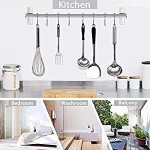 Kitchen Utensil Rack,Wall Mounted Hanger,Space Saver Stainless Steel Rack Rail Storage Organizer Kitchen Tools for Hanging Knives, Spoon,Pot and Pan with 8 Removable S Hooks, 20 inches