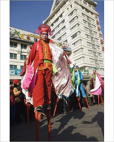 Photographic Print of Stilt walkers, Chinese New Year, Spring Festival, Beijing, China, Asia