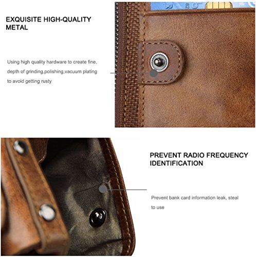 Men RFID Blocking Wallet Small Vintage Crazy Horse Leather Short Purse Bifold US