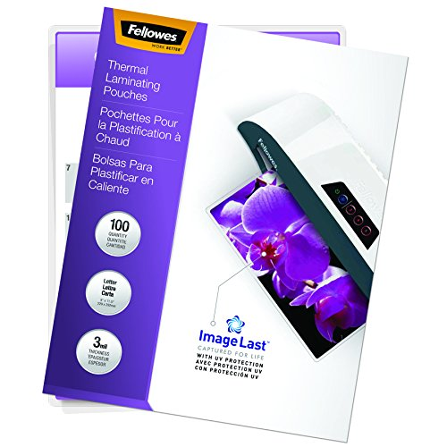Fellowes Thermal Laminating Pouches, ImageLast Letter Size, 3 Mil, 100 Pack (52454)