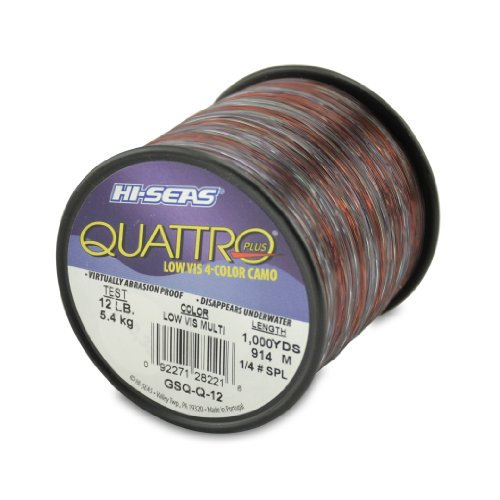 Hi-Seas Quattro Monofilament Line, 4 Color Camouflage, 12 Pound Test, 1/4-Pound Spool