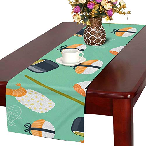INTERESTPRINT Table Runner Dresser Cover Runner Wedding Party Decorations Sushi Pattern 16 by -