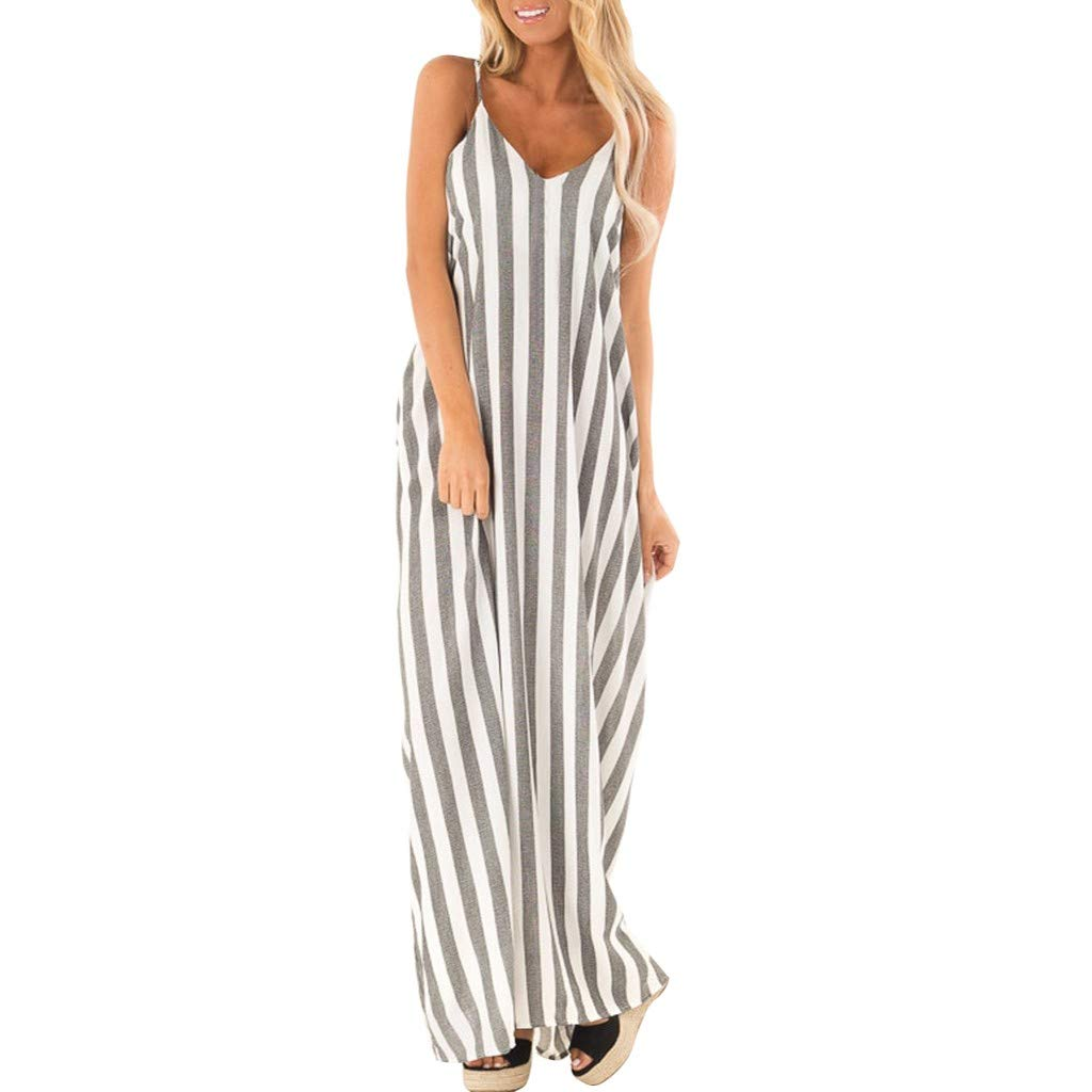 Mikey Store Women Summer Holiday Striped Long Boho Beach Maxi Dress Sundress Spaghetti Slacks V Neck Pocket Vestidos Grey