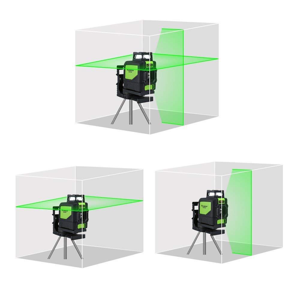 Laser Spirit Level Green Beam Cross Laser Self-Leveling Green Line Lasers 360/° Self Levelling Laser Line Huepar 901CG Laser Level Mute Green Laser Level Professional Leveling Tool