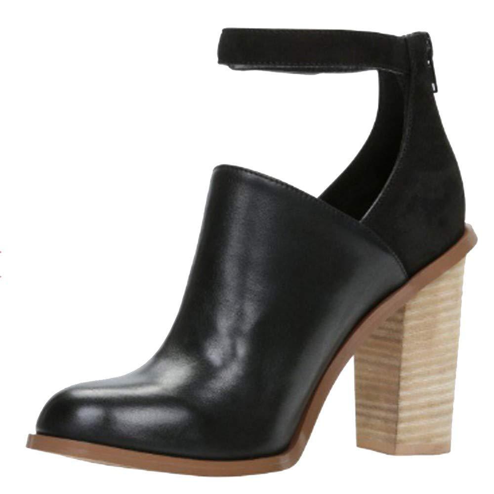 Botas de Mujer,Amlaiworld Zapatos de Moda para Mujeres Boca Baja Zapatos Individuales Zapatos de tacón Grueso con Hebilla Zapatos de Vestir Botines