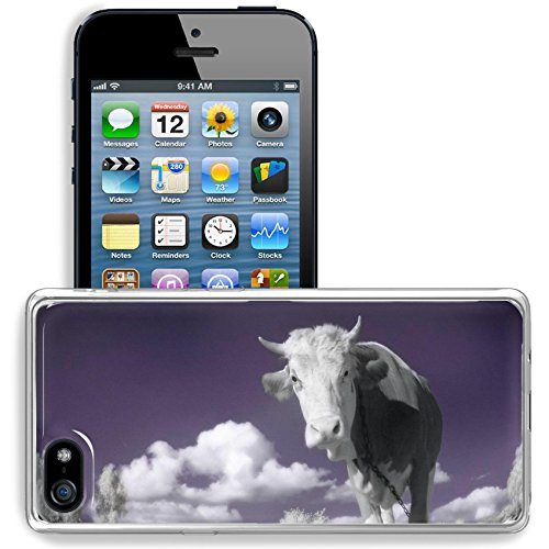 MSD Apple iPhone 5/iPhone 5S/iPhone SE Clear case Soft TPU Rubber Silicone Bumper Snap Cases iPhone5/5S IMAGE ID: 4751899 A cow is in the field is in an infra red color shoot special photocamera ()