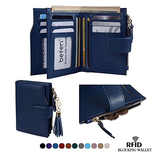 Befen Women's RFID Blocking Luxury Full Grain Genuine Leather Bifold Trifold Wallet Multi Card Organizer Holders for Ladies (Navy Blue RFID Wallet (Womens Tri Fold)