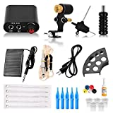 ATOMUS Professional Complete Tattoo Kit for Beginners Tattoo Motor Gun Machine Power Supply Kit Ink Cups 5 Tattoo Needles Tips Grommets Body Art Tattoo Supplies and Equipment