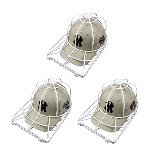 Baseball Hat Washer,3pcs Cap Washer Frame/Washing Cage,White Cap Hat Visors Shaper,Ball Cap Sport Hat Cleaner/Rack,Cap Holder,Hat Hanger,Cap Shape Protector,Cap Organizer,Safe for Dishwasher ()