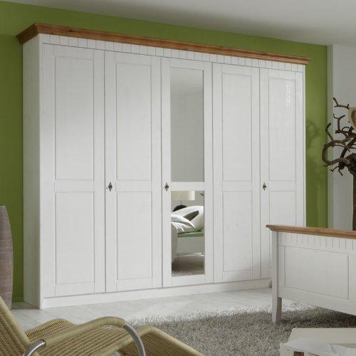 Landhaus Kleiderschrank »CAPRO226« massiv, weiß lasiert, bernsteinfarben