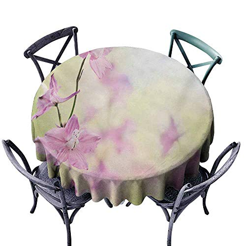 (VIVIDX Indoor/Outdoor Round Tablecloth,Floral,Larkspur Petals with Bokeh Backdrop Summer Season Botany Bouquet Image,Table Cover for Kitchen Dinning Tabletop Decoratio,43 INCH,Baby Pink Pale)