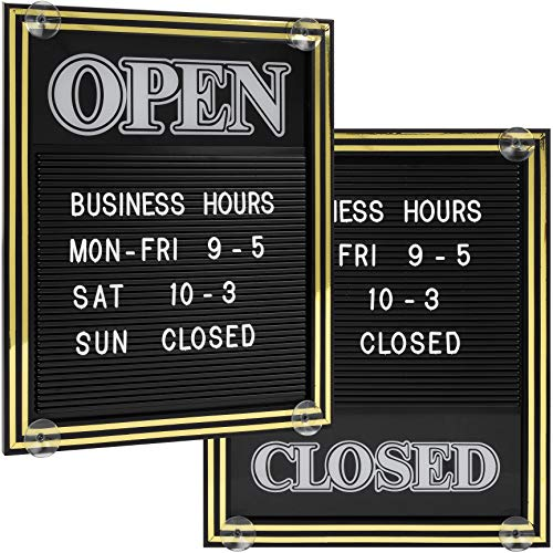 Open and Closed Sign with Letter Board for Customizable Message or Store Business Hours, Includes 298 Characters and Suction Cups for Hanging - 15 1/4 x 12 1/2 inches