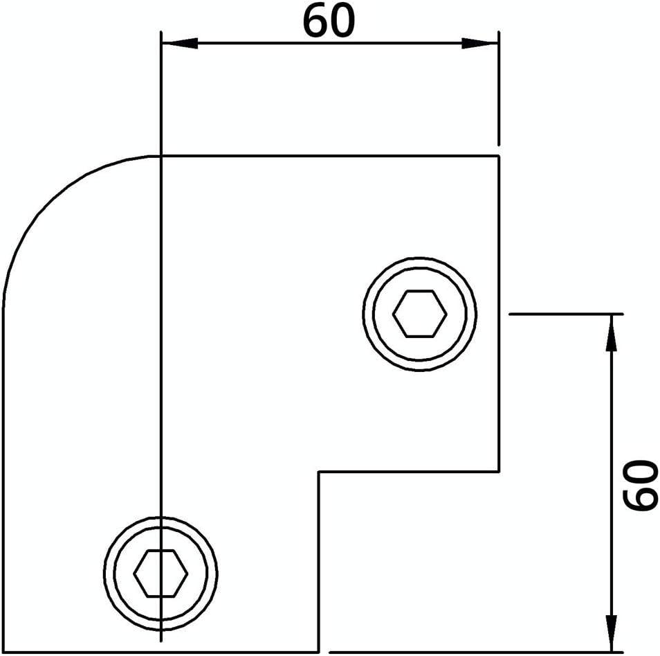 Coude//genouill/ère zingu/é /à chaud /Ø 26,9 mm Fenau fonte mall/éable raccord coud/é raccord de tube vis incluses