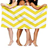 Beach Blanket Yellow Chevron Inspiring Microfiber Absorbent Print Pool Towel