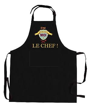 Tablier de cuisine C\'est moi le chef - Noir: Amazon.fr: Cuisine & Maison