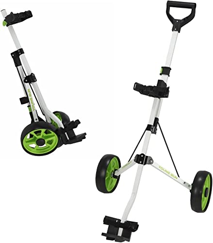 Young Gun Kids Adjustable Golf Cart for Junior Golfers 3-14 Years Old – White Green