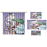 Bathroom 4 Piece Set Shower Curtain Floor mat Bath Towel 3D Print,His Tie Looks in Mirror and Sees Himself As Sheep,Fashion Personality Customization adds Color to Your Bathroom.