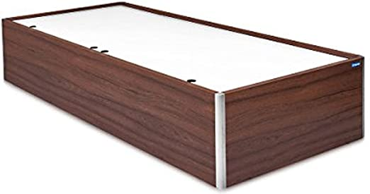 Spacewood Single Size Engineered Wood Bed with Box Storage  Particle Board   Walnut Rigato  Beds