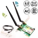 Bluetooth WiFi Card AC 1200Mbps,Wireless WiFi PCIe Network Adapter Card 5GHz/2.4GHz Dual B