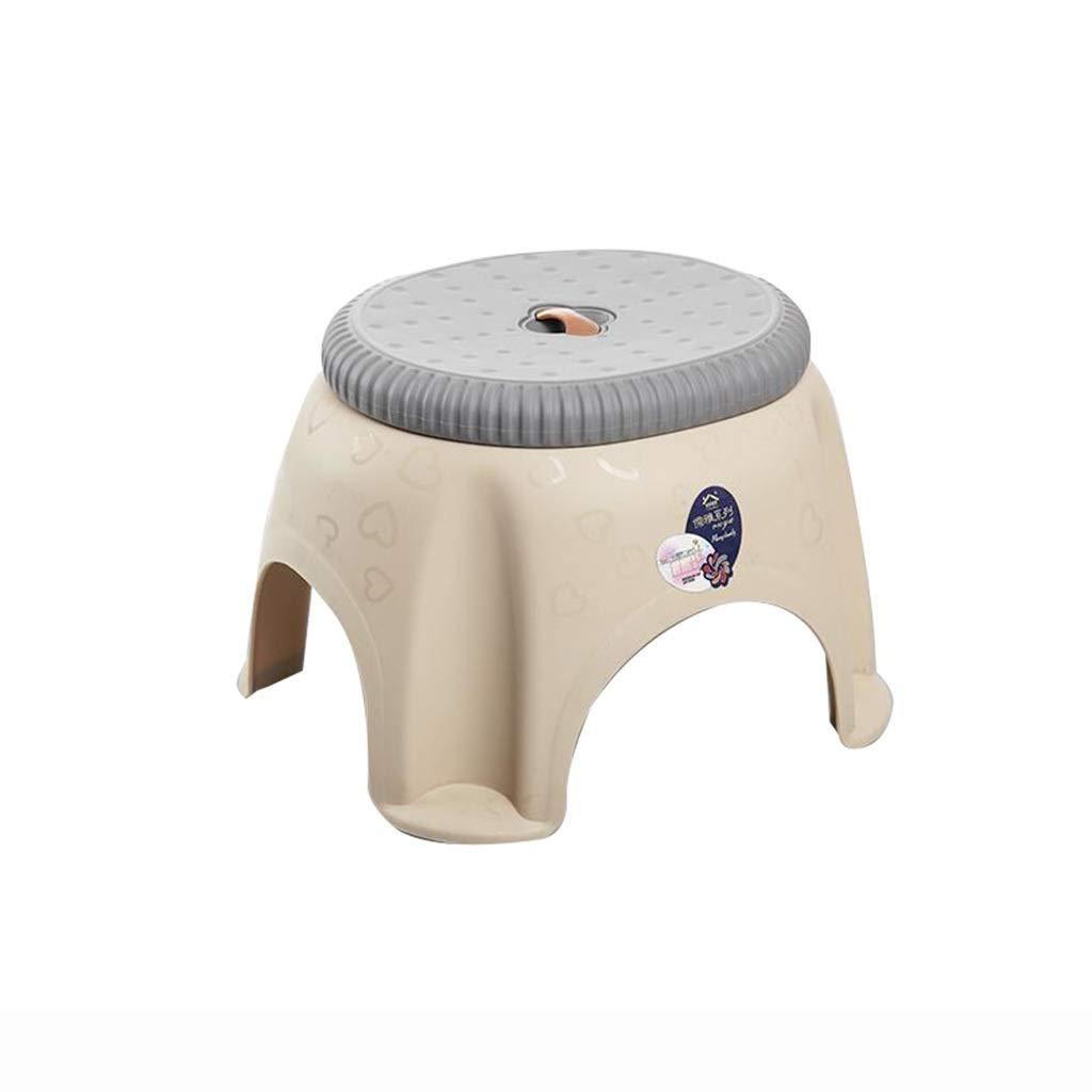 Color : Khaki, Size : 28 * 25 * 20cm WT-STOOL Sgabello for Scarpe Portatile Sgabello for Uso Domestico Sgabello da Bagno Sgabello Antiscivolo Plastica Semplice