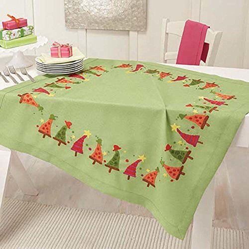 Herrschners® Funky Christmas Trees Table Topper Stamped Embroidery Kit